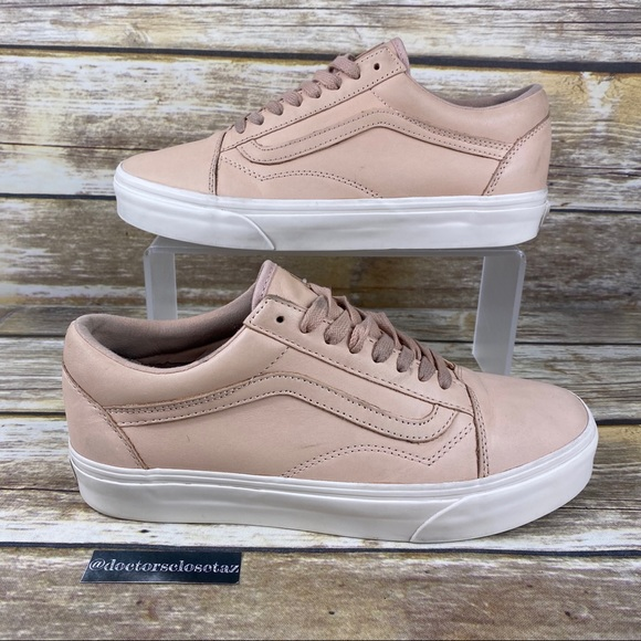 Vans Low Top Casual Skate Shoes Pink Beige Leather